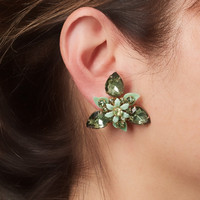 Vintage Green Stone Floral Design Clip Earrings