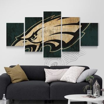 Philadelphia Eagles New Eagle Sports Team Logo Canvas Oil Painting Wall Art Prints Pictures For Living Room Unframed BR0088