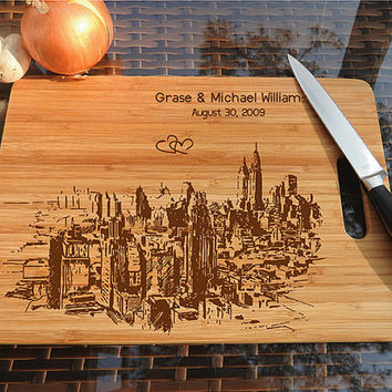 kikb552 Personalized Cutting Board New York city wooden wedding gift wedding anniversary