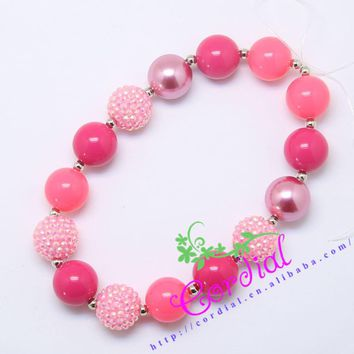 Hot Sell Free Shipping Fashion Cordial Design Kids Jewelry Handmade Chunky Bubblegum Coral Bead Girls Necklace CDNL-410354