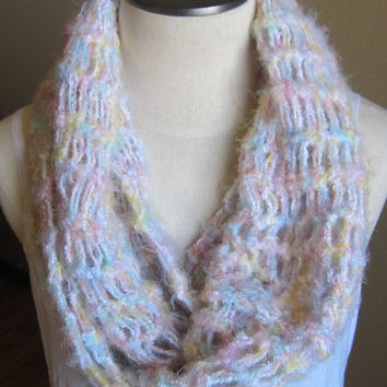 Crochet Cowl/ Hooded Scarf/ Infinity Scarf made with Sensations Angel Hair Boucle Yarn in Pastel Multi Color