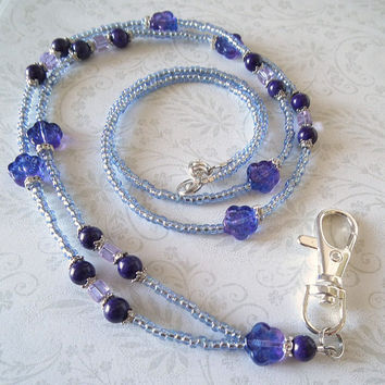 Blue Beaded Lanyard ID Badge Czech Glass Flowers, Rhinestones, Silver