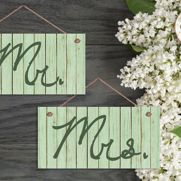 "Mr. and Mrs. Wedding Signs, Green Distressed Wood Style, Rustic Signs, Weatherproof, 5"" x 10"" Sign, Wedding Chair Signs, Made To Order"