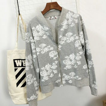 Gray Floral Print Zipper Long Sleeves Varsity Jacket
