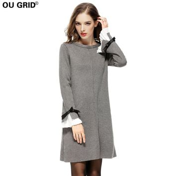 Women Spring Knitted Sweater Dress Plus Size S-4XL Thick Warm High Quality Long Butterfly Sleeve A-line Casual Dresses