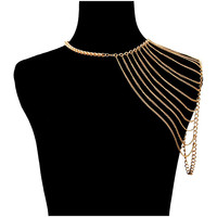 Gold Multi Layered Shoulder Body Chain