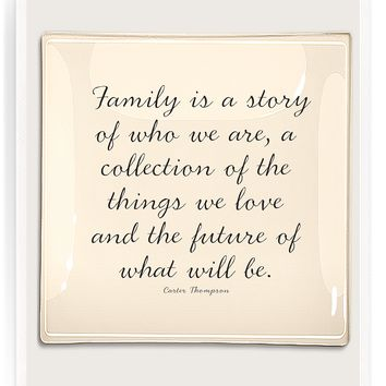 A Family Is A Story Decoupage Glass Tray