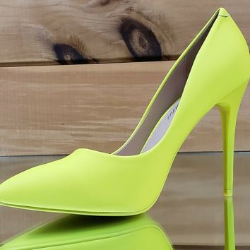 "Fabio Lime Neon Yellow 4.5"" High Heel Shoes Pointy Toe Pump 7-11"