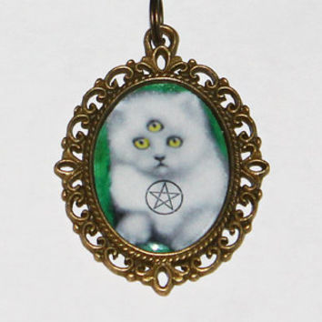 Wiccan Cat Pendant Necklace