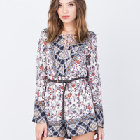 Printed Lace-Up Romper