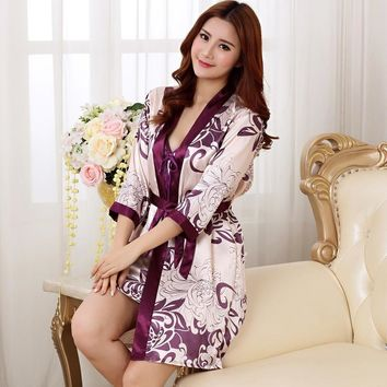 Brand New Long Robe Satin Rayon Bathrobe For Women Kimono Sleepwear Size M-XXL Nightwear Bridesmaid Bathrobes Hot