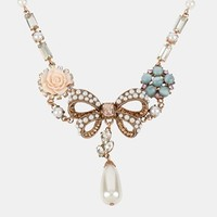 Betsey Johnson 'Vintage Bow' Bow Frontal Necklace | Nordstrom