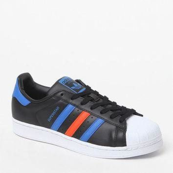 LM0FN adidas Superstar 80s Black and Blue Shoes at PacSun.com