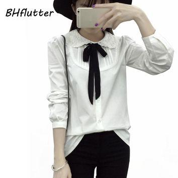 BHflutter Blusas Feminina Women Blouses and Tops New 2017 Bow Tie Peter-pan Collar Lace Shirts Women's Long Sleeve White Blouse