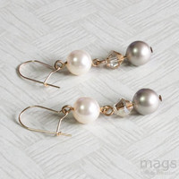 Dangle Pearls Earrings, Cream and Golden Earrings, Simple Everyday Jewellery