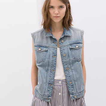 Women's Fashion Rinsed Denim Sleeveless Denim Tops Jacket [4919012868]