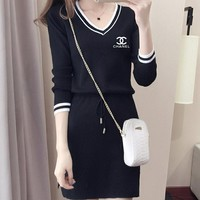 """CHANEL"" Fashion Casual Letter Print V-Neck Middle Sleeve Mini Dress"