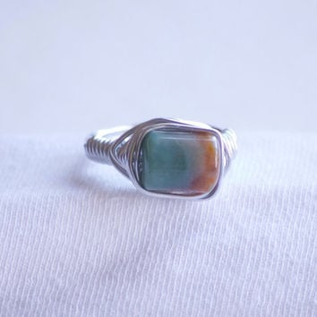 Wire Wrapped Ring - Earth Jasper Stone Ring - Gemstone Ring - Jasper Stone Ring - Boho Ring - Hippie Ring - Boho Jewelry - Hippie Jewelry