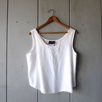 80s White Tank Top Camisole Crop Top Slinky Minimal Shirt Womens 1980s Simple Plain Cropped Basic Tank Top Vintage Small Medium