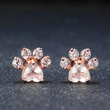 1 Pair New Arrival Hot Sale Shiny Pink Stud Earrings Jewelry Cat Dog Paw Print Earring Female Piercing Gifts for Lady Friends