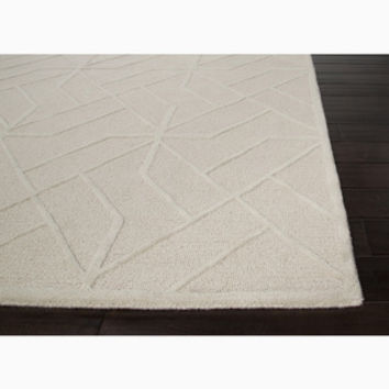 Hand-Made Ivory/ White Wool Textured Rug (5X8)