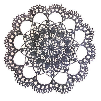 Round Black Crochet Doily 11.5 inches, Handmade, Country Style Home Decor