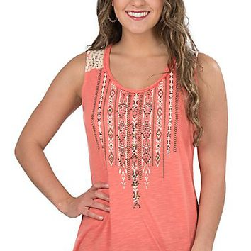 Anne French Women's Apricot Studded Tank
