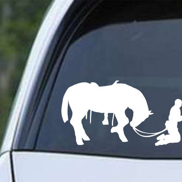 Cowboy Praying with Horse Christian Die Cut Vinyl Decal Sticker