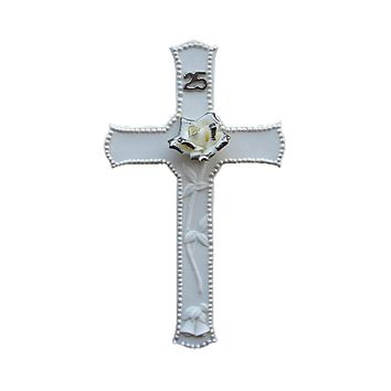 25th Silver Wedding Anniversary Porcelain Religious Wall Cross 8""