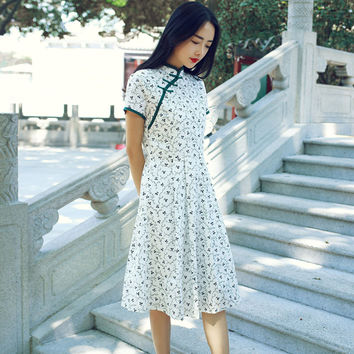 White Fresh Floral Print Cheongsam Short Sleeve Dress
