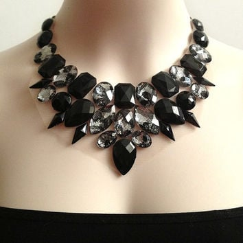 black and lace rhinestone bib necklace, bridesmaids, prom, wedding, Christmas statement necklace