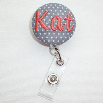 Retractable ID Badge Holder Reel  - Fabric Button -  gray mini pin polka dots - custom monogram name
