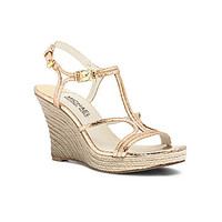 MICHAEL Michael Kors Cicely Metallic Snake Wedge Sandals - Pale Gold