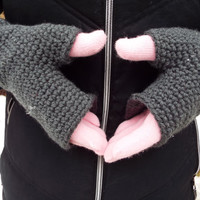 Pink and Grey Double Layer Gloves- Two Layer Gloves- Fingerless Gloves- Crochet Gloves- Ladies Gloves- Winter Gloves- Hand Warmers