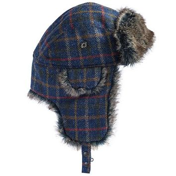 Medway Tweed Trapper Hat in Navy Bright Plaid by Barbour
