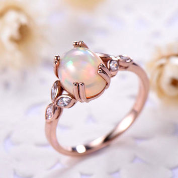opal engagement ring rose gold 14k/18k Unique Art Deco Marquise or 925 sterling silver with Man made CZ diamond