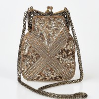 Iconic By UV Vintage Style Pale Gold Hand Beaded Flapper Purse