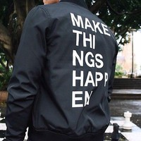 Topman Bomber Jacket In Black Make Things Happen Print Medium New