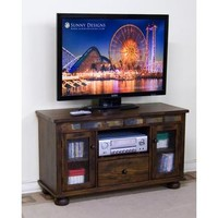 Sunny Designs Oxford TV Console with Game Drawer In Dark Oak