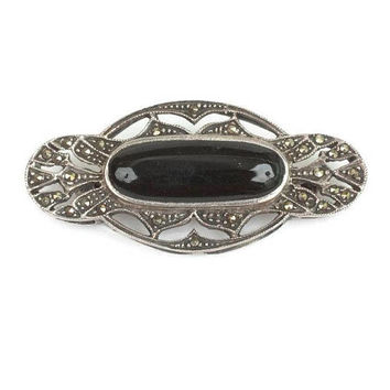 Art Deco Style Black Cabochon Brooch Marcasites Sterling Silver Oval Shape Cut Outs Vintage