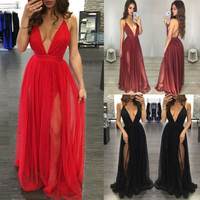2017 Summer Sexy Women Evening Party Formal Long Prom Gown Dress Beach Sundress