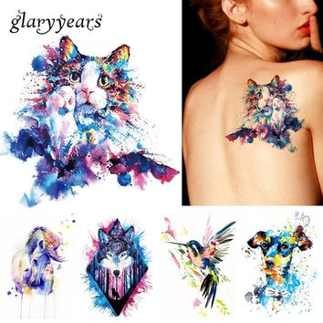 1x DIY Body Art Temporary Tattoo Colorful Animals Watercolor Painting Drawing Horse Butterfly Decal Waterproof Tattoos Sticker