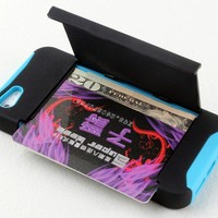 Kickstand Hard and Soft Double Layer with Card Case for Iphone 5