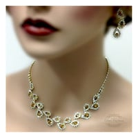 Bridesmaid jewelry Set bridal necklace, vintage inspired statement, Yellow Crystal necklace earrings, wedding jewelry set