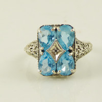 Blue Topaz Victorian Revival Sterling Silver Ring, Art Deco