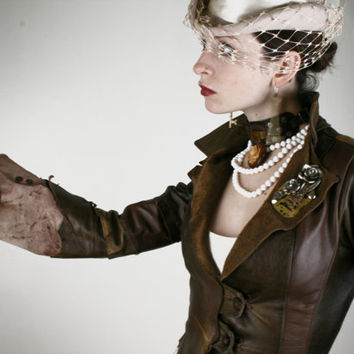 Gypsy Steampunk Leather Jacket, OOAK ( one of a kind ) Handmade  Recycled / Upcycled