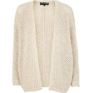Cream open knit boxy cardigan
