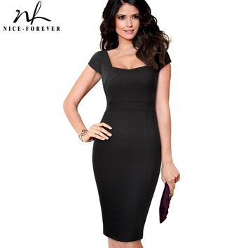 Nice-forever Vintage Elegant Square Neck Plus Size vestidos Bossiness Work Pinup Bodycon Sheath Fitted Woman Office Dress 239
