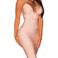 Beige Parker Low Neck Bandage Dress