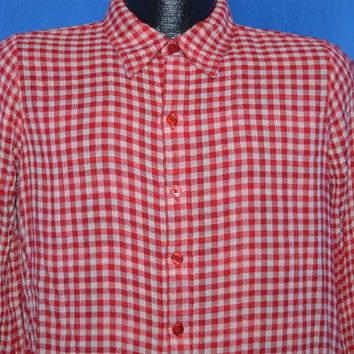 60s Red Gingham Reversible Plaid Shirt Medium